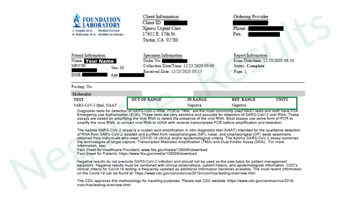 foundation lab negative report